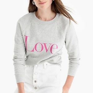 J CREW ~ LOVE SWEATSHIRT ~ XS ~ PINK ~ SOLD OUT!!!